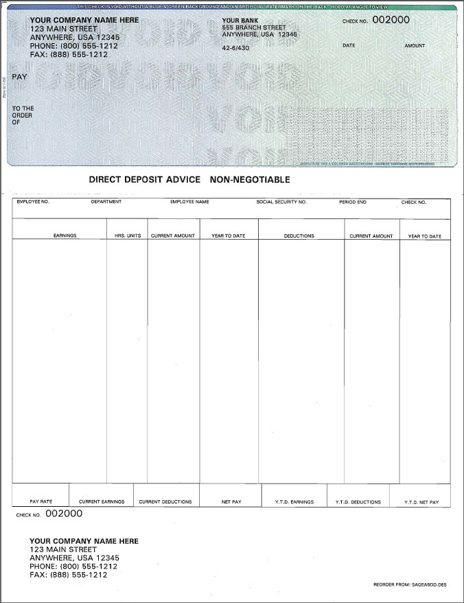 Discount PrePrinted Sage Abra Payroll Checks - BIG SALE on ...